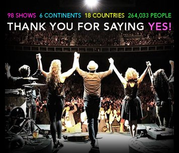 98 shows. 6 continents. 18 countries. 264,033 people. THANK YOU FOR SAYING YES!</p>   <h3 style=